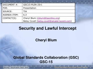 Security and Lawful Intercept