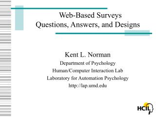 Web-Based Surveys  Questions, Answers, and Designs