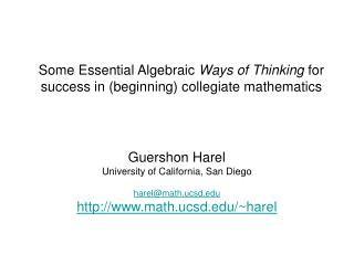 Some Essential Algebraic  Ways of Thinking  for success in (beginning) collegiate mathematics