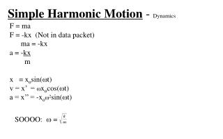 Simple Harmonic Motion  -  Dynamics
