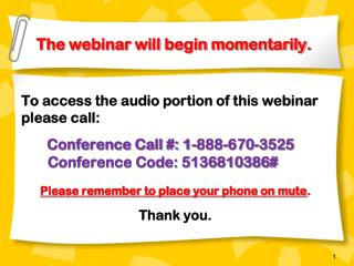 The webinar will begin momentarily.