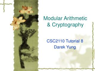 Modular Arithmetic & Cryptography