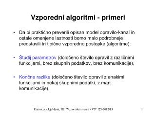 Vzporedni algoritmi - primeri