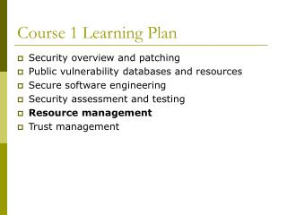 Course 1 Learning Plan