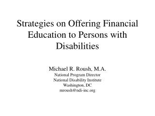 Strategies on Offering Financial Education to Persons with Disabilities