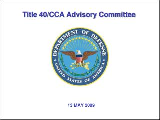 Title 40/CCA Advisory Committee