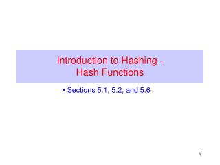 Introduction to Hashing -  Hash Functions