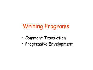 Writing Programs
