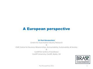A European perspective