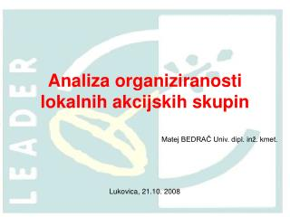 Analiza organiziranosti lokalnih akcijskih skupin