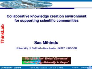 Collaborative knowledge creation environment  for supporting scientific communities
