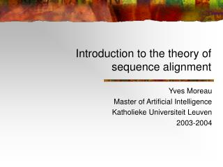 Introduction to the theory of sequence alignment
