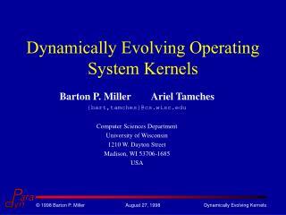 Dynamically Evolving Operating System Kernels