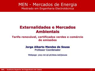 MEN - Mercados de Energia Mestrado em Engenharia Electrot�cnica