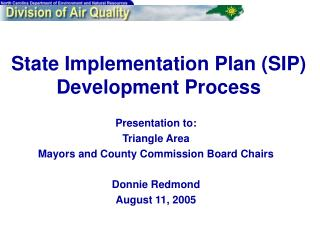 State Implementation Plan SIP Development Process