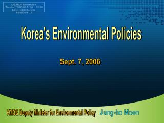 Korea's Environmental Policies