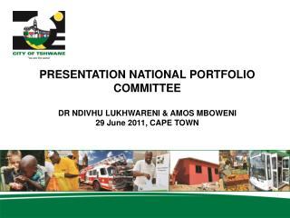 PRESENTATION NATIONAL PORTFOLIO COMMITTEE DR NDIVHU LUKHWARENI & AMOS MBOWENI