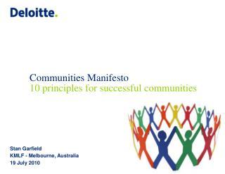 Communities Manifesto 10 principles for successful communities