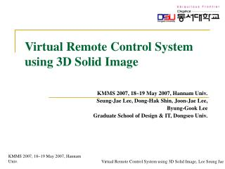 Virtual Remote Control System  using 3D Solid Image