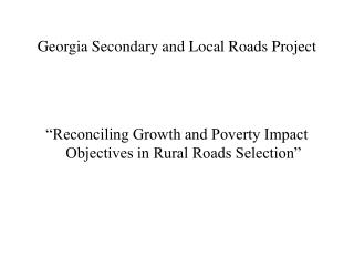 Georgia Secondary and Local Roads Project