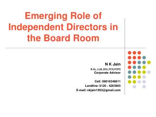 Emerging Role of Independent Directors in the Board Room