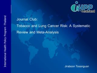 Journal Club:  Tobacco and Lung Cancer Risk: A Systematic Review and Meta-Analysis