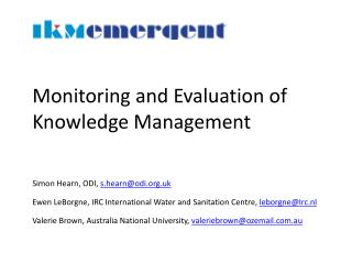 Monitoring and Evaluation of Knowledge Management