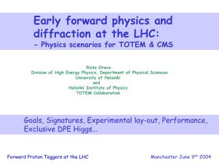 Early forward physics and  	  diffraction at the LHC: 	   - Physics scenarios for TOTEM & CMS