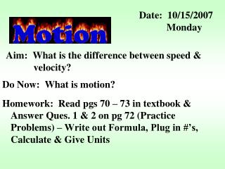 Aim:  What is the difference between speed &    velocity?