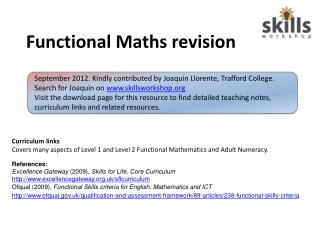 Functional Maths revision