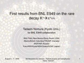 First results from BNL E949 on the rare decay K +  p + nn