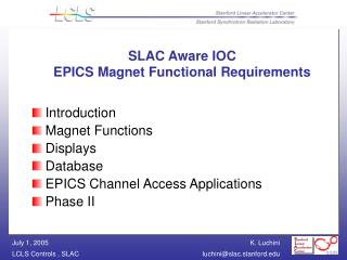 SLAC Aware IOC EPICS Magnet Functional Requirements