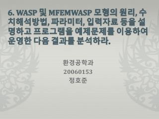 6. WASP  및  MFEMWASP  모형의 원리 ,  수치해석방법 ,  파라미터 ,  입력자료 등을 설명하고 프로그램을 예제문제를 이용하여 운영한 다음 결과를 분석하라 .