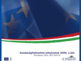 Gazdaságfejlesztési pályázatok 2009, 1.kör Kovalszky Dóra, NFÜ GOP IH
