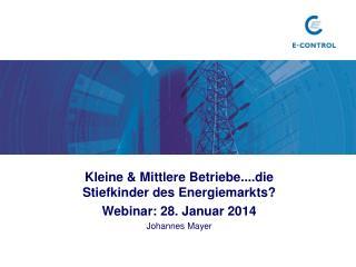 Kleine  & Mittlere Betriebe....die Stiefkinder des Energiemarkts ? Webinar :  28. Januar 2014