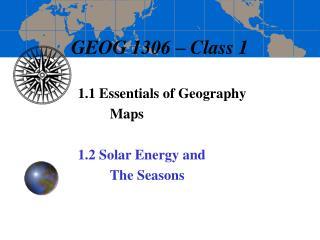 GEOG 1306 – Class 1