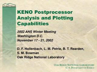 KENO Postprocessor Analysis and Plotting Capabilities