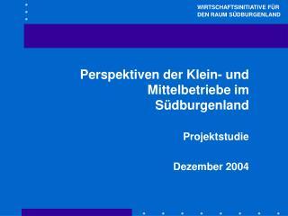 Perspektiven der Klein- und Mittelbetriebe im Südburgenland Projektstudie Dezember 2004