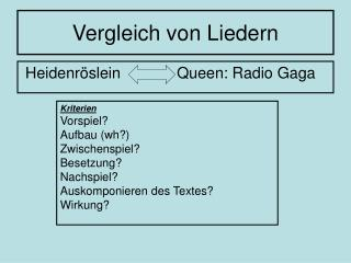 Vergleich von Liedern