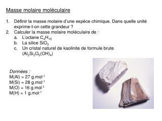 Masse molaire moléculaire