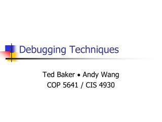 Debugging Techniques
