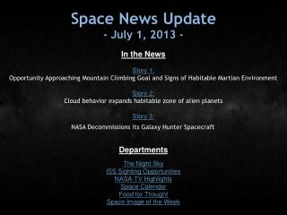 Space News Update - July 1, 2013 -