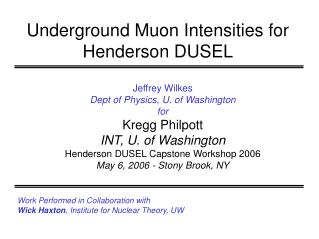 Underground Muon Intensities for Henderson DUSEL