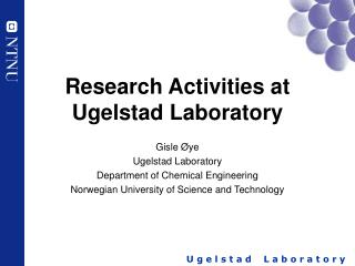 Research Activities at Ugelstad Laboratory