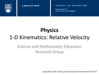 Physics 1-D Kinematics: Relative Velocity