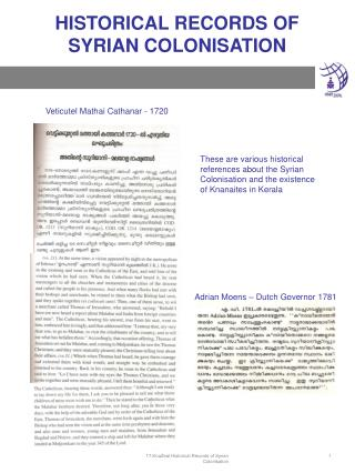 HISTORICAL RECORDS OF  SYRIAN COLONISATION