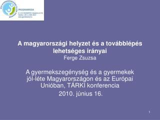 A magyarországi helyzet és a továbblépés lehetséges irányai  Ferge Zsuzsa