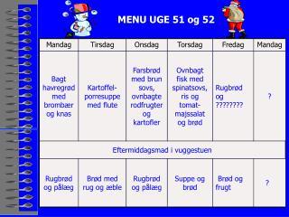 MENU UGE 51 og 52