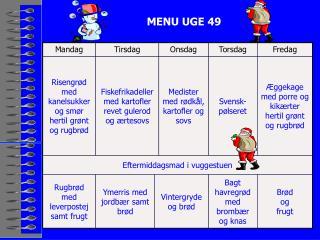 MENU UGE 49