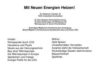 Mit Neuen Energien Heizen!